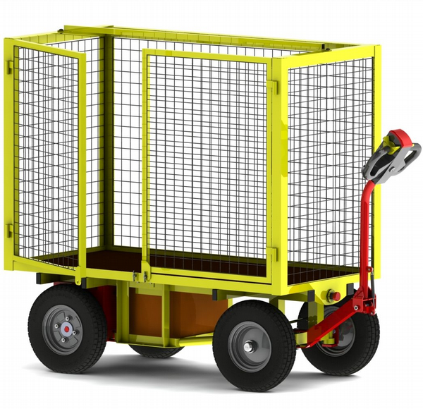 Powered Turntable Truck | High Mesh Cage 2x Doors